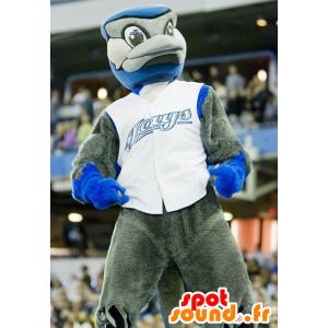 Szary i niebieski ptak maskotka - MASFR20863 - ptaki Mascot