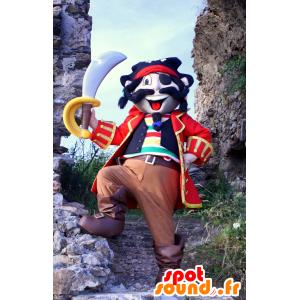 Mascote pirata colorido, no vestido tradicional