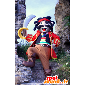 Mascotte de pirate coloré, en tenue traditionnelle