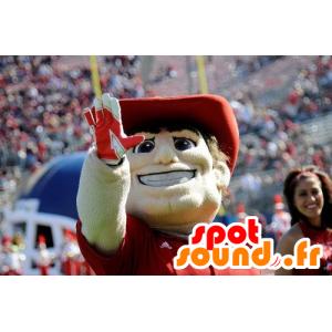 Uomo Mascot con un cappello e una polo rossa - MASFR20905 - Umani mascotte