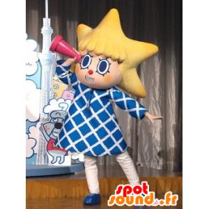 Cabeça da mascote da menina com asteróide - MASFR20916 - mascotes criança