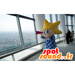 Girl mascot head with asteroid - MASFR20916 - Mascots child