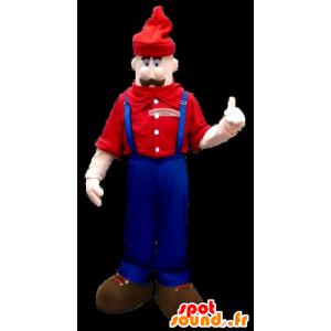 Mascot mustachioed man in overalls - MASFR20917 - Human mascots