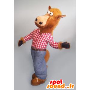 Bruin paard mascotte met een plaid shirt en jeans