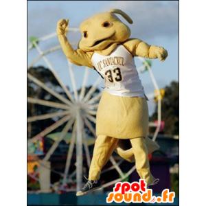 Mascotte de lapin, de créature jaune