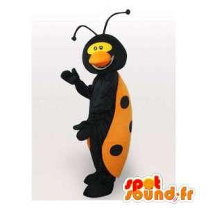 Mascotte geel en zwart lieveheersbeestje. lieveheersbeestjekostuum
