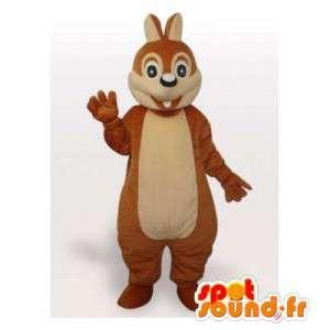 Mascotte d'écureuil marron et beige. Costume d'écureuil