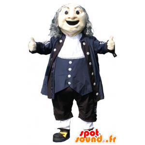 Old Man Mascot, musta mekko, valkoinen ja sininen - MASFR20953 - Mascottes Homme