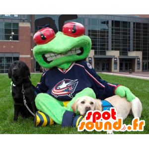 Green frog mascot with red eyes - MASFR20964 - Mascots frog