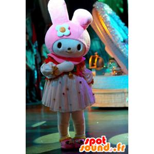 Mascotte de lapin blanc et rose, très féminine - MASFR20966 - Mascotte de lapins