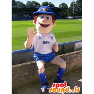 Boy Mascot, politieagent, blauwe en witte outfit - MASFR20971 - mascottes Child