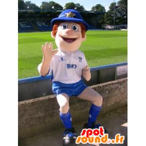 Menino Mascot, policial, equipamento azul e branco - MASFR20971 - mascotes criança