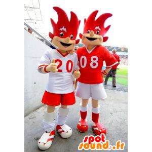 2 rote und weiße Maskottchen der Euro 2008 - Trix und Flix - MASFR20992 - Sport-Maskottchen