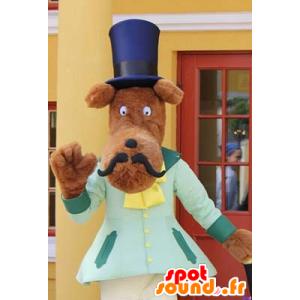 Mascotte de chien moustachu avec un chapeau haut de forme - MASFR20998 - Mascottes de chien