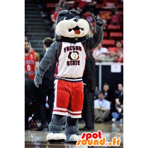 Hond mascotte, grijs bulldog - MASFR21001 - Dog Mascottes