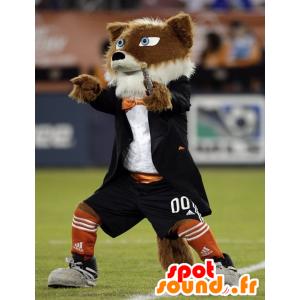 Mascotte de chien marron et blanc, tout poilu - MASFR21016 - Mascottes de chien