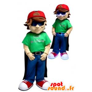 Boy Maskottchen, mit einem Umhang und Kappe - MASFR21029 - Maskottchen-Kind