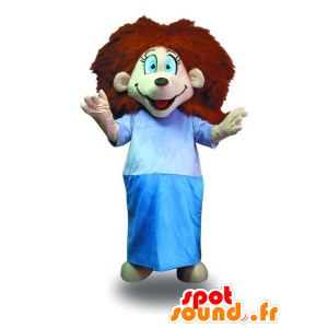 Mascot daughter with red hair with a dressing gown