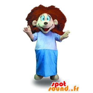 Mascotte de fille aux cheveux rouges, avec une robe de chambre