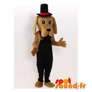 Maskottchen-Hund mit beigen Overalls und einem schwarzen Hut - MASFR006445 - Hund-Maskottchen