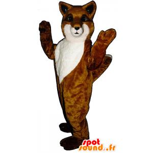 Mascotte de renard orange et blanc