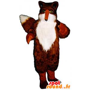 Mascotte de renard orange et blanc, aux yeux verts