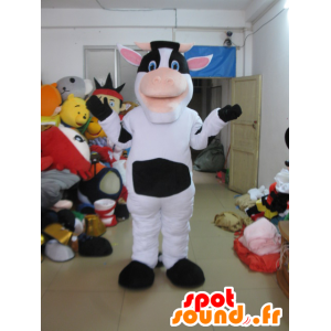 Black and white cow mascot