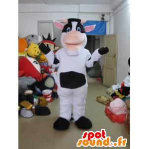Mascota de vaca en blanco y negro