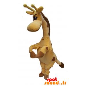 Amarelo e castanho mascote girafa