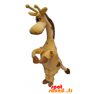 Gele en bruine giraffe mascotte