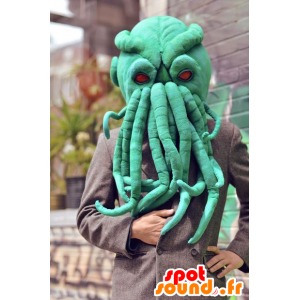 Green octopus mascot head, very realistic - MASFR21082 - Heads of mascots