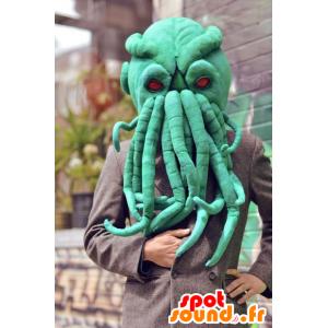 Mascotte de tête de pieuvre verte, très réaliste