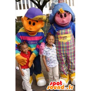 2 mascottes: une fille rose et un garçon orange