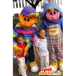 2 pets: a pink girl and orange boy - MASFR21086 - Mascots child