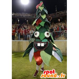 Kerstboom mascotte, groen en rood