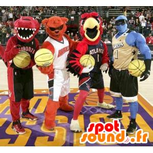 4 maskotki: dinozaura, niedźwiedź, ptaka i człowieka niebieskiego - MASFR21098 - ptaki Mascot