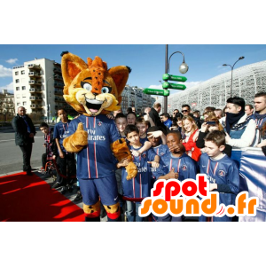 Orange lynx mascot, with blue eyes