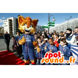 Orange lynx mascotte, met blauwe ogen