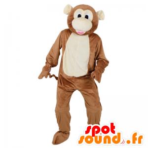 Marrone e bianco scimmia mascotte