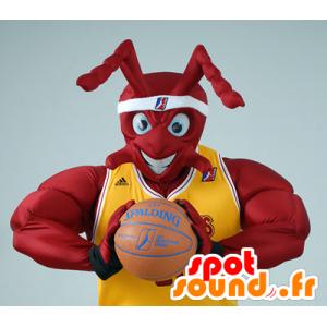 Mascotte de fourmi rouge musclée, en tenue de Basket