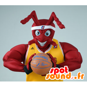 Maskotti lihaksikas punainen muurahainen, joka pidettiin koripallo
