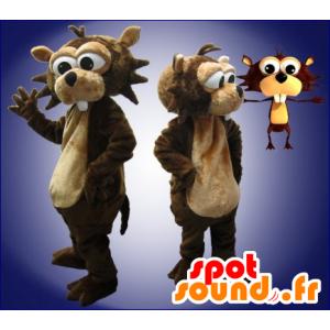 Brown y la mascota del castor amarillento