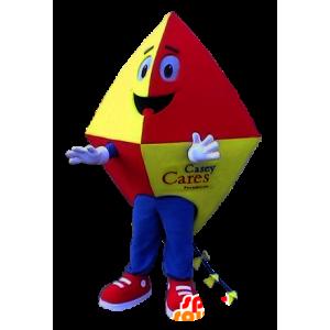 Mascot rød kite, gul og blå - MASFR21125 - Stag og Doe Mascots