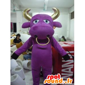 Mascotte de vache violette et dorée, de taureau