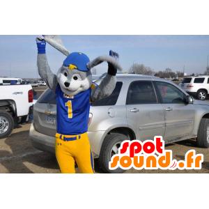 Mascota conejo gris y blanco, vestido de azul y amarillo - MASFR21128 - Mascota de conejo