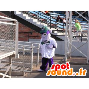 Mascotte de singe violet, avec une casquette - MASFR21136 - Mascottes Singe