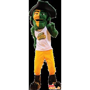 Mascote do pirata, um homem com um chapéu grande