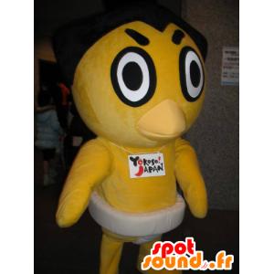 Geel kuiken mascotte eend