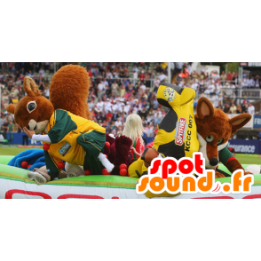 2 pets: a squirrel and an orange fox - MASFR21145 - Mascots squirrel