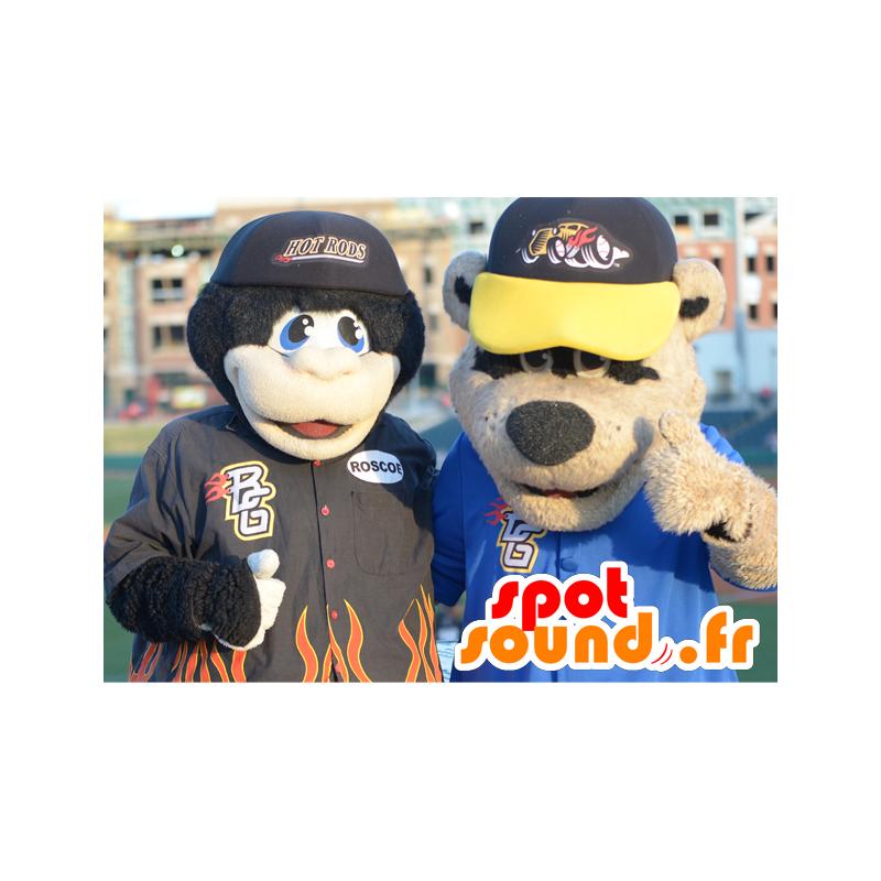 2 pets: a black monkey and a brown bear - MASFR21147 - Mascots monkey